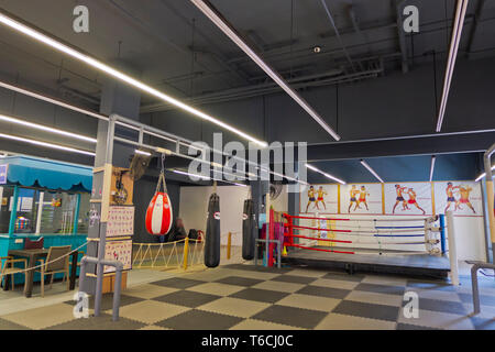 Boxing gym, The Block, hotel and entertainment complex, Beach Road, Thawewong Road, Patong, Phuket island, Thailand - Stock Photo