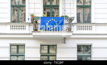 European Flag on a balcony in Berlin Kreuzberg - Stock Photo