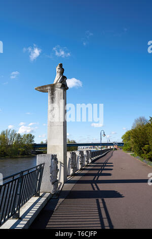 Promenade on the River Elbe in Magdeburg - Stock Photo