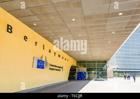 Staff entrance of the Berlaymont building, headquarters of the European Commission in Brussels, Belgium. - Stock Photo