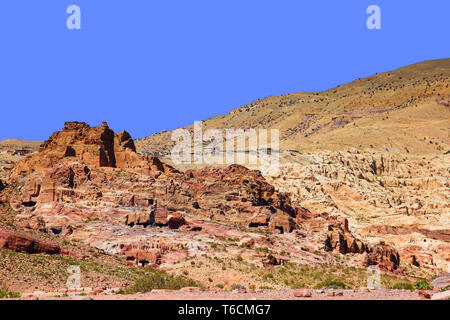 View of Mughar An Nassara tombs, located in the eastern part of Petra. Jordan. - Stock Photo