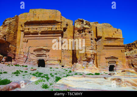 Mughar An Nassara tombs, are christian tombs, located in the eastern part of Petra. Jordan - Stock Photo