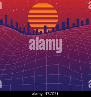1980's retro graphic vector with wire mesh landscape, setting sun and silhouettes of city buildings - Stock Photo