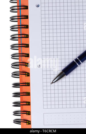 Notebook and pen in composition isolated on white background - Stock Photo
