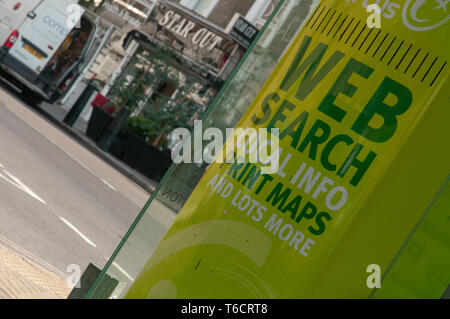 Advertising of web search local info print maps in green. London - Stock Photo