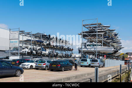 KB (Ken Brown) Boat Park Dry Stack, a dry dock boat stack on land in Portsmouth, Hampshire, England, UK. - Stock Photo