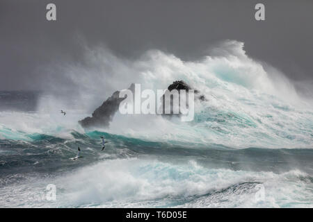 Stormy Sea; Fair Isle; Shetland; UK - Stock Photo