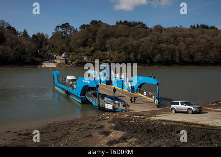 King Harry Ferry; River Fal; Cornwall; UK - Stock Photo