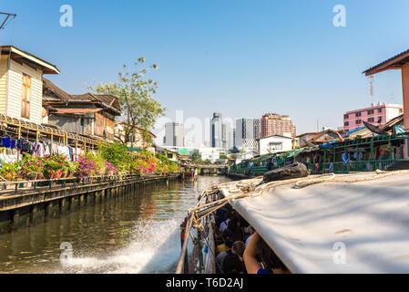Express boat service on the Khlong Saen Saep in Bangkok - Stock Photo