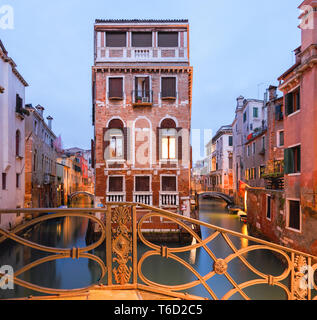 Picturesque View over the Rio de San Giovanni Laterano im Sestiere Castello; Venice, Veneto, Italy - Stock Photo