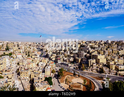 Cityscape seen from Citadel Hill, Amman, Amman Governorate, Jordan - Stock Photo