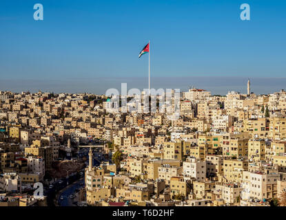 Cityscape with Raghadan Flagpole seen from Citadel Hill, Amman, Amman Governorate, Jordan - Stock Photo
