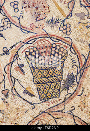 Mosaic Floor in Umm ar-Rasas, Amman Governorate, Jordan - Stock Photo