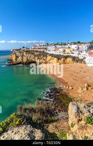 Praia de Carvoeiro, Carvoeiro, Lagoa, Algarve, Portugal - Stock Photo