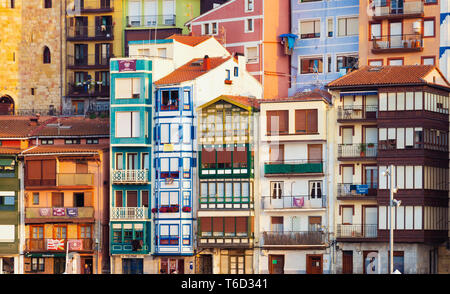 Spain, Vizcaya Province, Basque Country, Bermeo, harbour, close-up of buildings