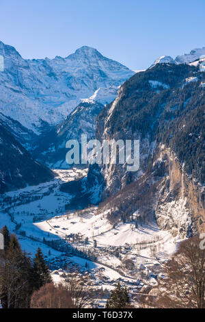 Lauterbrunnen valley, Berner Oberland, canton of Bern, Switzerland - Stock Photo