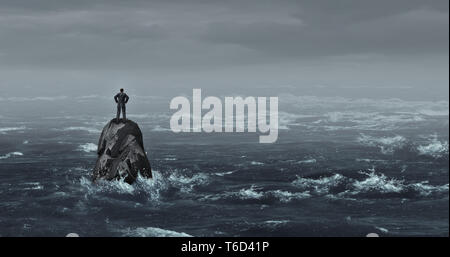 Business despair concept as a stranded businessman lost at sea standing on an isolated rock as a corporate idea for financial crisis or being lost. - Stock Photo