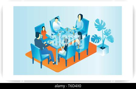 large family dinner isometric illustration concept. - Stock Photo