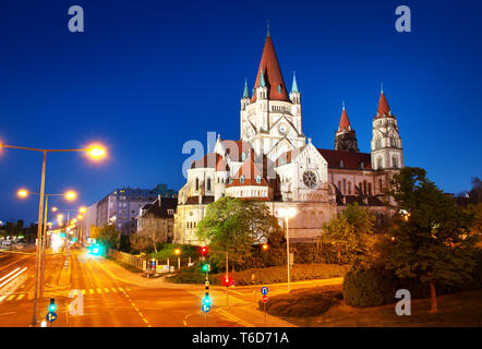 Saint Francis of Assisi Church on Danube in Vienna, Austria at night - Stock Photo