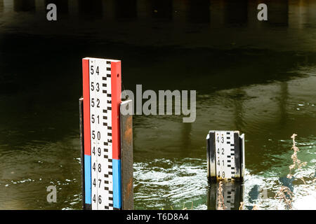 Biebrza Valley (Poland). Water gauge on river - Stock Photo