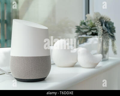 close up of smart home device on window - Stock Photo