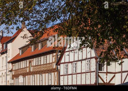 UNESCO World Heritage City Quedlinburg, Harz Mountains, Saxony-Anhalt, Germany - Stock Photo
