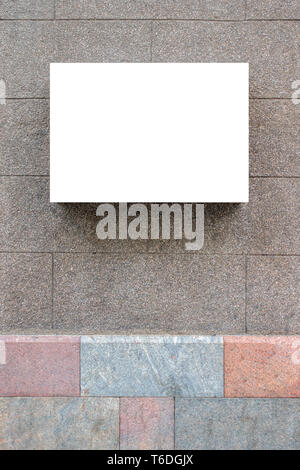 Mock up. Blank empty signboard on classic building wall - Stock Photo
