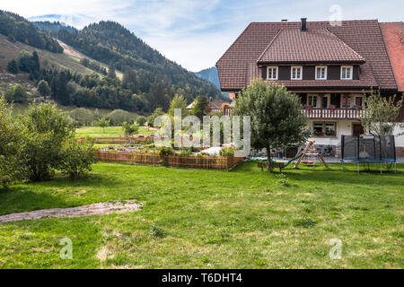 Black Forest houses and forest hills in the Southern Black Forest, spa health Menzenschwand, Germany, farm building High Black Forest near St. Blasien