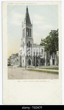 Detroit Publishing Company vintage postcard reproduction of the Christ Church in New Orleans, Louisiana, 1903. From the New York Public Library. () - Stock Photo