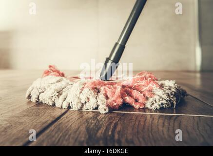 Modern Mop Closeup. Bathroom Floor Cleaning Time. - Stock Photo