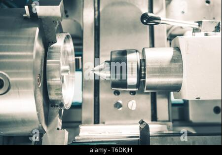 Metal Working Lathe Machine Closeup. Processing Metallic Material. - Stock Photo