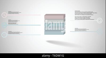 3D illustration infographic template with embossed cube divided to five parts - Stock Photo
