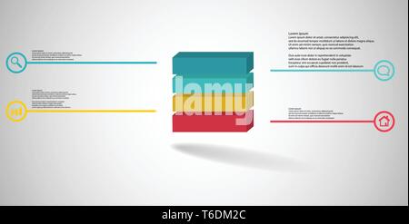 3D illustration infographic template with embossed cube divided to four parts - Stock Photo