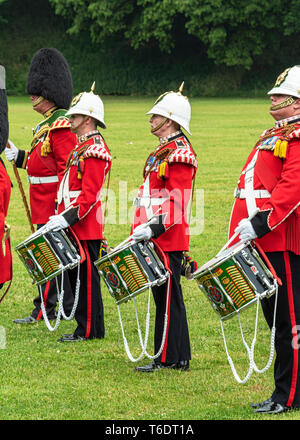 UK, Cardiff - 09 June 2018 - Band of the Welsh Guards taking part in the birthday celebrations for Queen Elizabeth II - Drums - Stock Photo