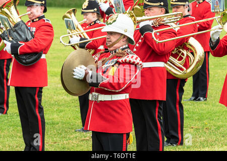 UK, Cardiff - 09 June 2018 - Band of the Welsh Guards taking part in the birthday celebrations for Queen Elizabeth II - Cymbal - Stock Photo