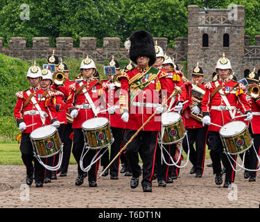 UK, Cardiff - 09 June 2018 -  Band of the Royal Welsh taking part in the official birthday celebrations for Queen Elizabeth II  - Drums - Stock Photo