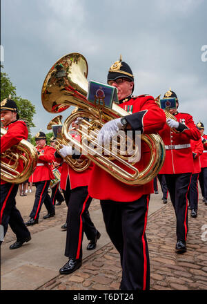 UK, Cardiff - 09 June 2018 - Band of the Welsh Guards taking part in the birthday celebrations for Queen Elizabeth II - Tuba - Stock Photo