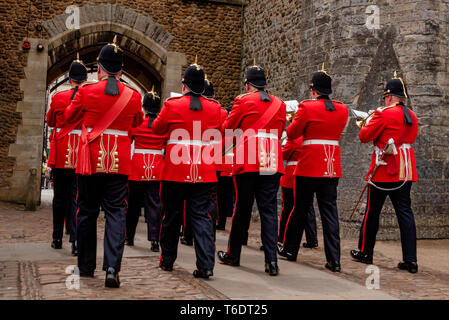 UK, Cardiff - 09 June 2018 -  Band of the Royal Welsh taking part in the official birthday celebrations for Queen Elizabeth II - Stock Photo