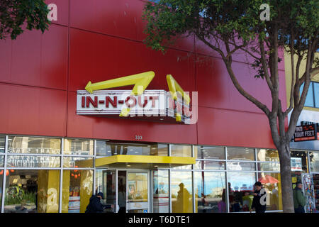 SAN FRANCISCO, CALIFORNIA, UNITED STATES - NOV 11th, 2018: In-N-Out Burger at Fisherman's Wharf Location - Stock Photo