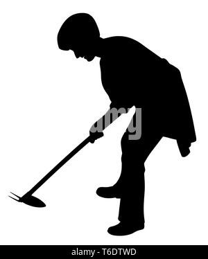 Woman working in the garden with weeding hoe - Stock Photo
