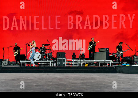 Indio, California, April 28, 2019,  Danielle Bradbery on stage performing to an energetic crowd on day 3 of the Stage Coach Country Music Festival. Ph - Stock Photo