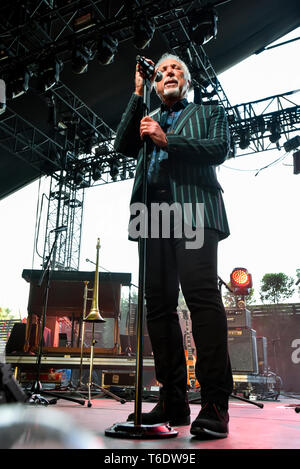 Indio, California, April 28, 2019,  Tom Jones on stage performing to an energetic crowd on day 3 of the Stage Coach Country Music Festival. Photo: Ken - Stock Photo