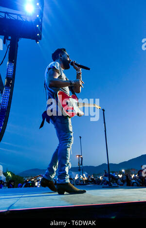 Indio, California, April 28, 2019, Matthew Ramsey of the band Old Dominion on stage performing to an energetic crowd at the Stage Coach Music Festival - Stock Photo