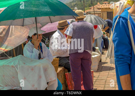 A woman protects herself from the intense midday sun, while selling the coocked hens that keeps in a covered basket, at the market of Villa de Leyva. - Stock Photo