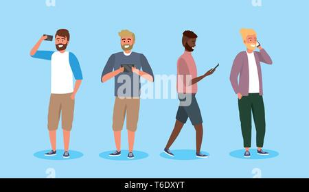 set funny men friends with smartphone technology vector illustration - Stock Photo