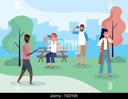 women and men in the park with smartphone technology vector illustration - Stock Photo