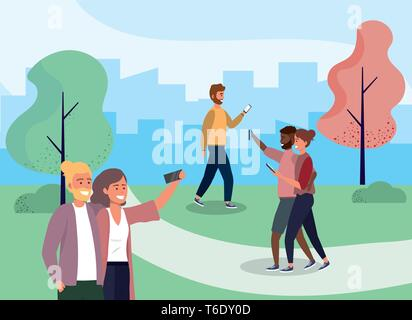women and men with smartphone technology in the park vector illustration - Stock Photo