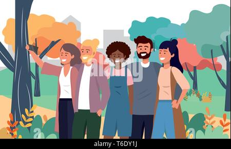 funny women and men friends with smartphone vector illustration - Stock Photo