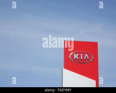 LJUBLJANA, SLOVENIA - MARCH 22 2019: Sign Kia Motors. Company signboard Kia Motors - Stock Photo