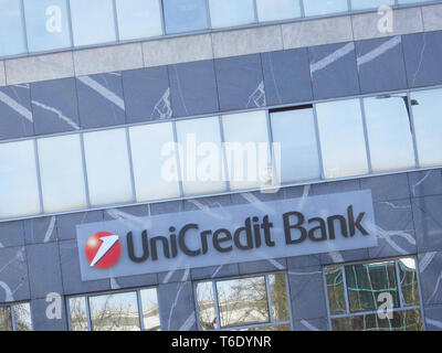 LJUBLJANA, SLOVENIA - MARCH 22 2019: Unicredit bank S.p.A. is one of the biggest Italian and European credit groups - Stock Photo